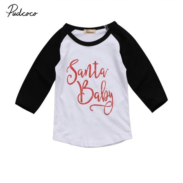 Xms Santa Baby Clothing Kids Baby Girls Boy Child Tees Long Sleeve T