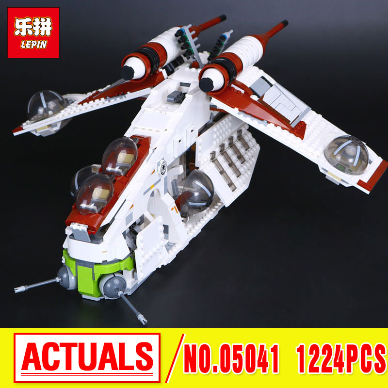 2016 LEPIN 05041 1224Pcs Stars  Republic Gunship Model Building Kits  Blocks Bricks Children Toys Gift With 75021 wars wars lepin 02012 city deepwater exploration vessel 60095 building blocks policeman toys children compatible with lego gift kid sets