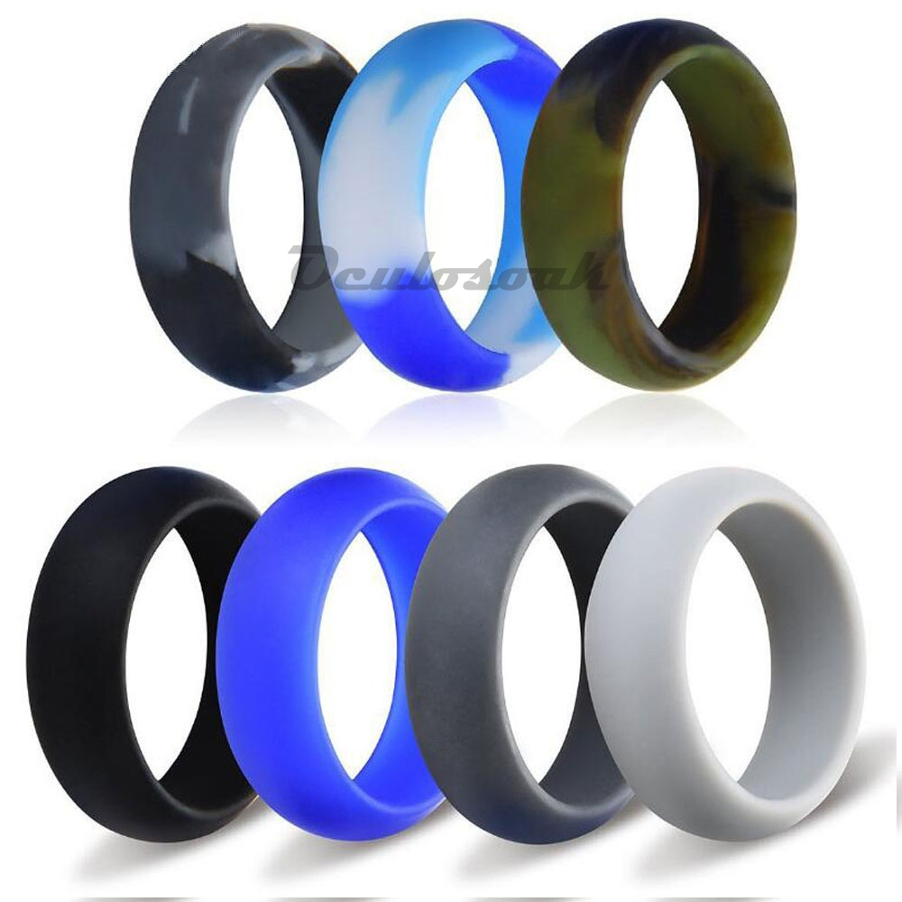 7pcs set 6 12 Size Hypoallergenic Crossfit Flexible 8mm Food Grade FDA Silicone Finger Ring For Men Women Wedding Jewelry Gift in Rings from Jewelry Accessories