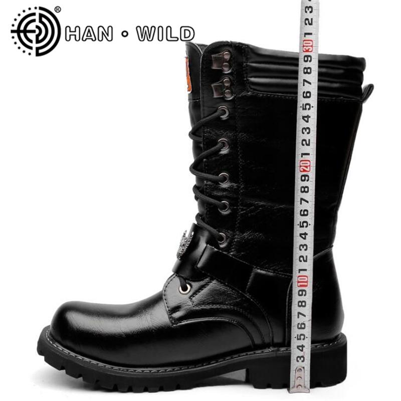 Boucle Bottes Cuir L'armée Qualité Militaire Métal Tactique En Punk Chaussures Moto Hommes De Haute Botas Noir OwEtq