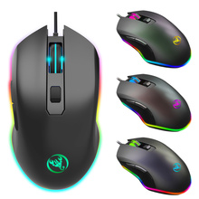 HXSJ new RGB light wired mouse esport gaming four adjustable DPI PC notebook office black computer 6 button