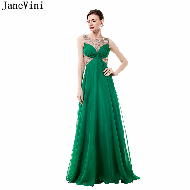 JaneVini Sexy Chiffon Long   Bridesmaid     Dresses   Scoop Neck Beaded Floor Length Illusion Back A Line Formal Prom Gowns Plus Size