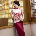 TIC-TEC 2017 Women Vintage Plus Size Chinese long Traditional Cheongsam sexy Dresses red print short Sleeve Elegant Qipao P3296