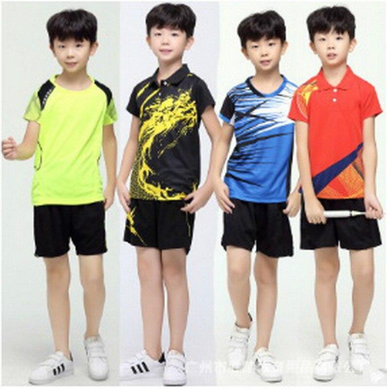 Prix pour Tennis De Table des Jeunes Des Vêtements 2017 Nouveaux Vêtements de Badminton Costume Couple Séchage rapide D'été De Tennis Vêtements De Tennis Enfants Sport Chemise