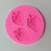 E2001 Three Holes Strawberry Silicone Mold Soap Fondant Based Sugar Craft Tools Chocolate Silicone Molds For