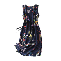 Pure Silk Dress Women Summer Natural Silk Print Dresses Sleeveless Vintage Elegant Knee Length Real Silk Holiday Dress