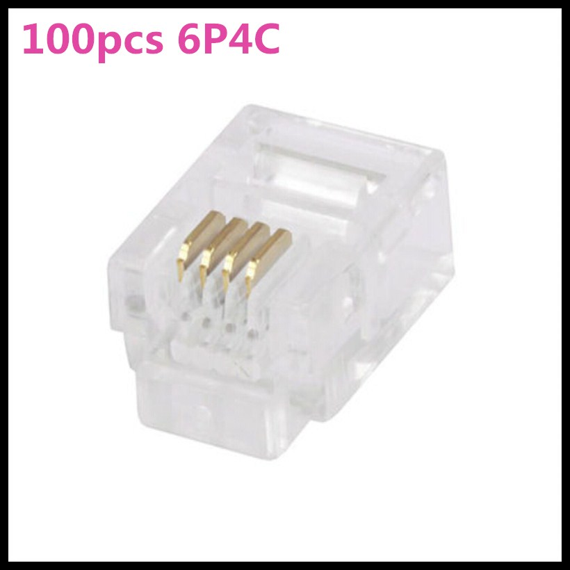 цена на 100Pcs 6P4C 6 Pins 4 Contacts RJ11 Telephone Modular Plug Jack,RJ11 Connector