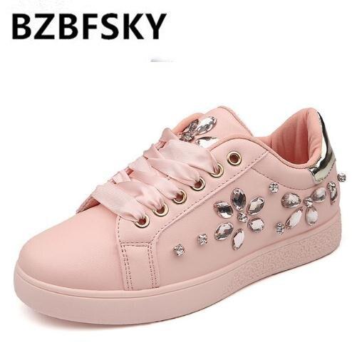 BZBFSKY2018 Fashion Sneakers Women Flat Heel Rhinestone Casual Shoes Soft Womens Sneakers Ladies Brand Shoes Pink Black White