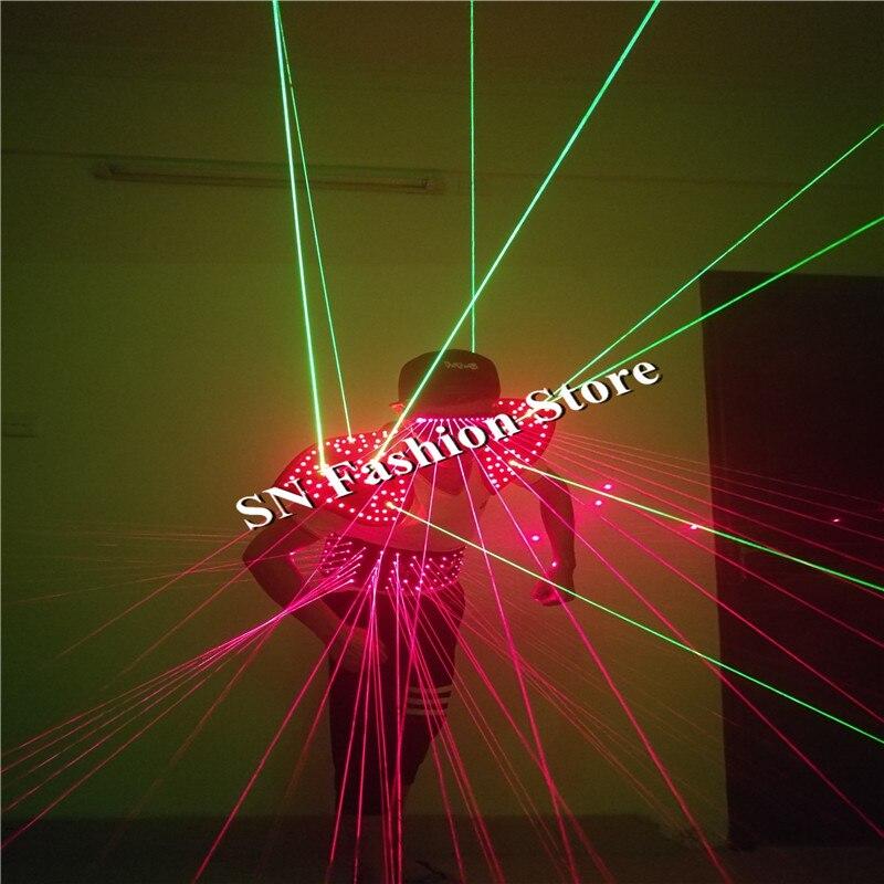 T26-1 Ballroom dance led costumes laser vest shoulder laser glasses led costumes 1 set dj singer wears bar party cosplay clothes