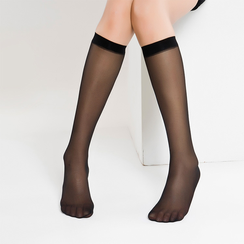 10pcs= 5pair Sexy Stockings Transparent Crystal Silk Thin Summer Nylon Stockings Female Ladies Over Knee Socks For Women