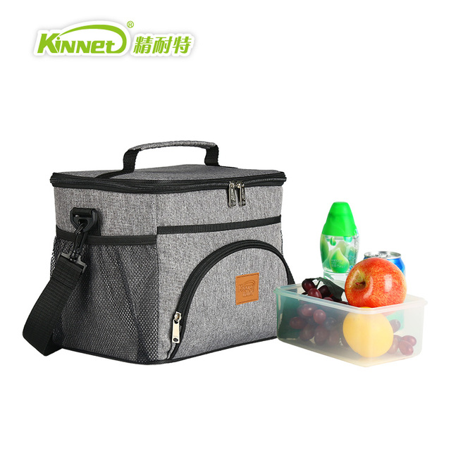 KinNet Cooler bag five ice pack Thermal insulation bag Fabric of Oxford aluminum foil liner 12L portable fresh-keeping Lunch bag