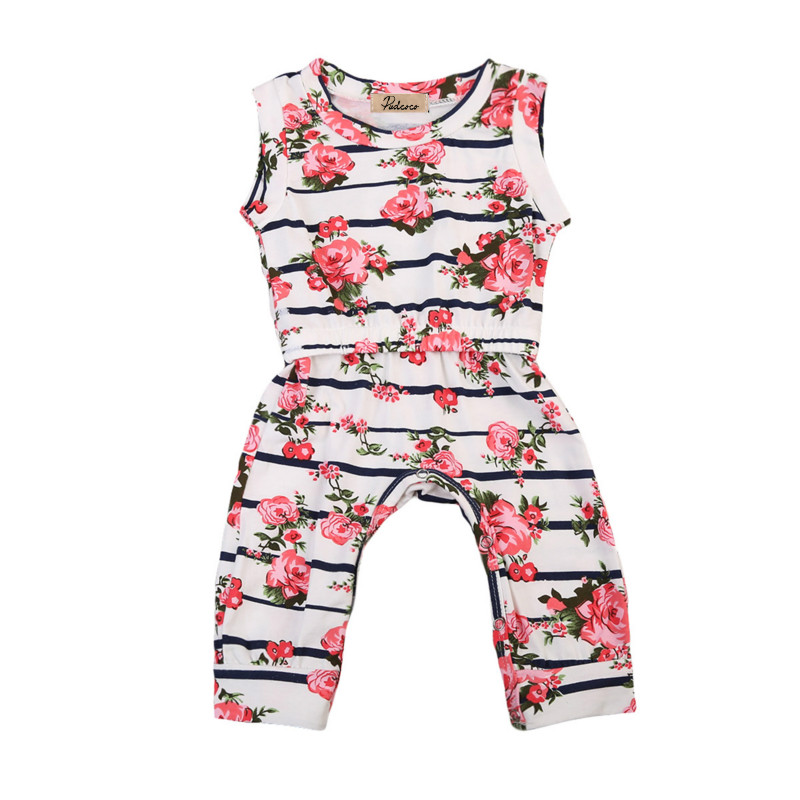 Infant Newborn Baby Boys Girl Summer One-Piece Clothes Kids Cotton Sleeveless Floral Romper Jumpsuit Clothing Outfit Tops 0-2Y