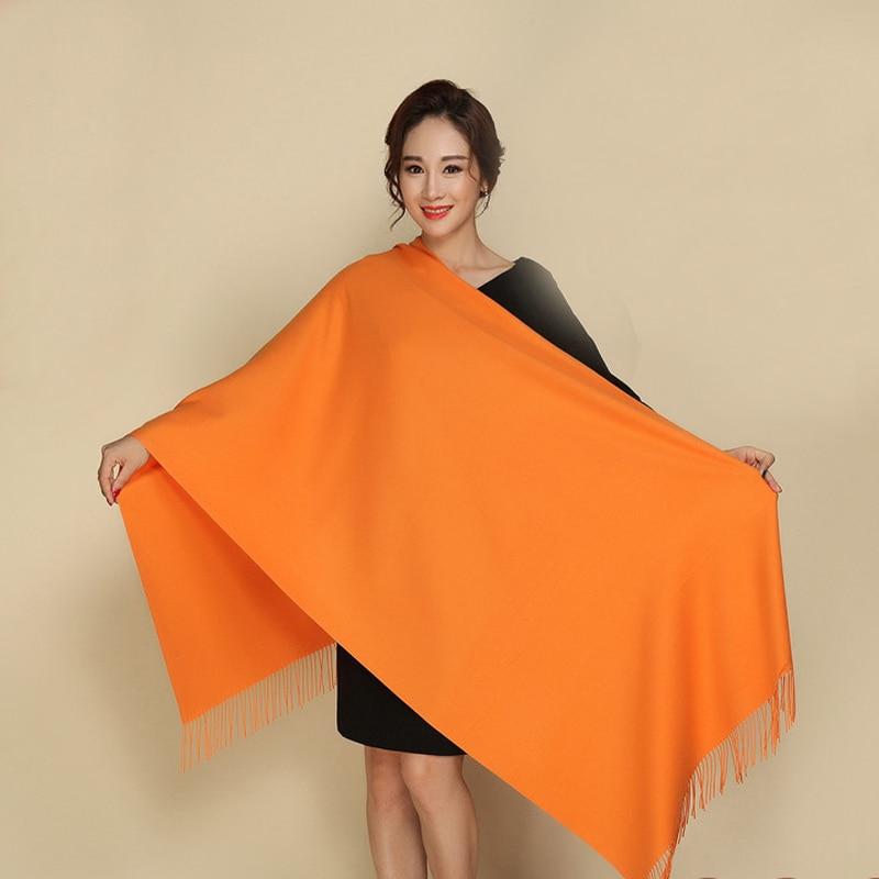 Solid Orange 100% Soft Women's New Large Fashion Fine Tassels Cashmere Pashima Thick Long Shawl Scarfs Wrap Warm Wholesale112002