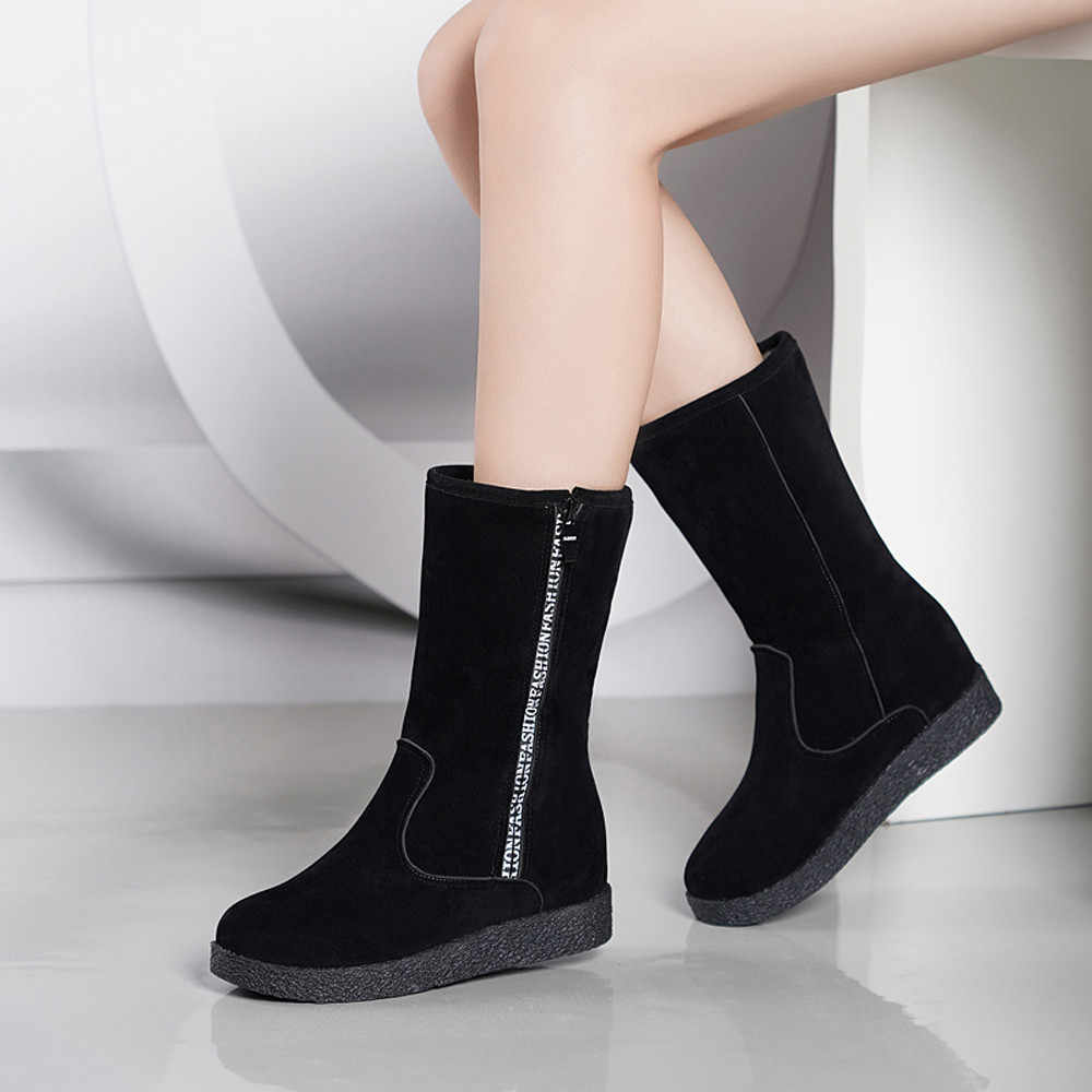 YOUYEDIAN Mulheres Botas Plana Baixo Zipper Botas de Tubo Meio Flcok Sapatos Casuais Martin Botas bota feminina salto alto parágrafo montou # a3