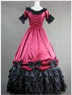 Брендовое Новое винтажное фиолетовое хлопковое бальное платье с короткими рукавами, викторианское бальное платье с оборками, маскарадное платье - Цвет: Красный