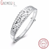 GNIMEGIL Authentic 100 925 Sterling Silver Bangle Female Hollow Flower Design Symbol Of Love Clover Charm