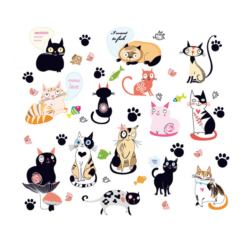 3D Katt Wall Sticker Hole View Levende Living Room Innredning Dekal Katt Wall Sticker Cute Cat