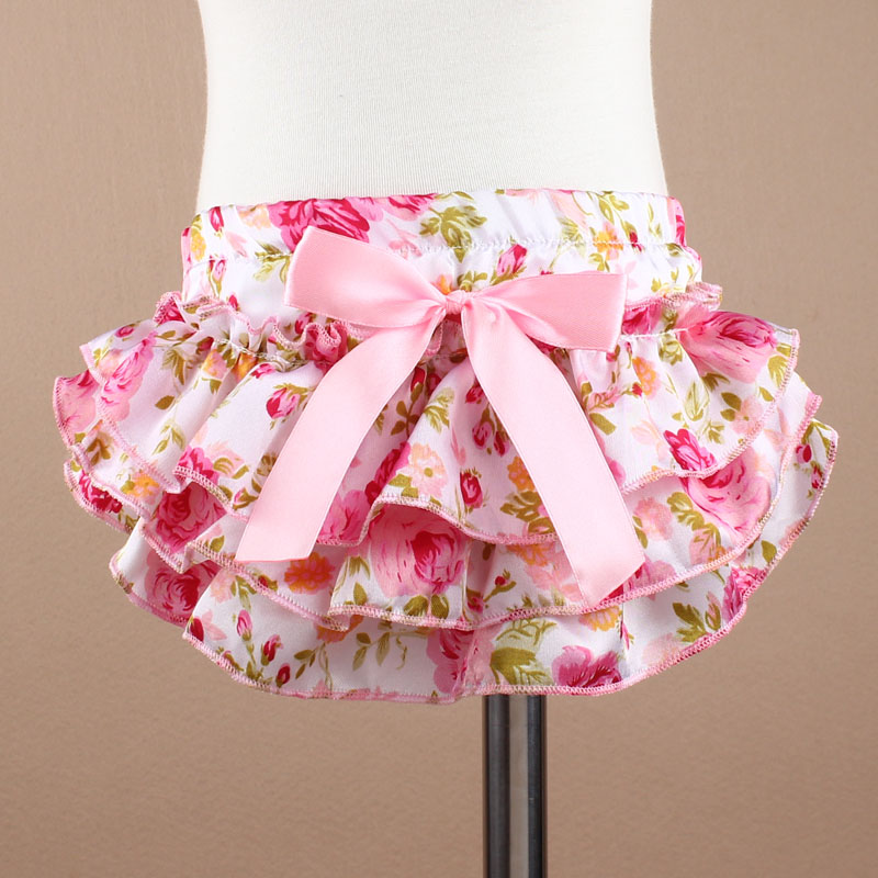 KF201-215 NEW Baby Floral Bow satin Exercise Shorts Workout Outwear Shorts 3 Colors