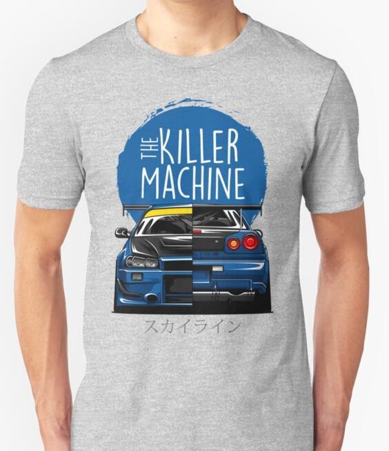 Image 4 - New Men T shirt Fashion Niss Skyline GTR R34 BNR34 Car Logo JDM T shirt Custom Print-in T-Shirts from Men's Clothing