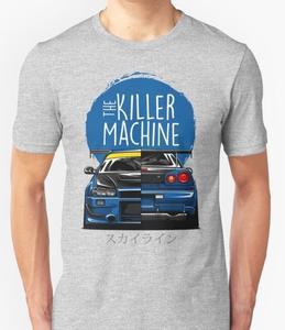 Image 4 - New Men T shirt Fashion Niss Skyline GTR R34 BNR34 Car Logo JDM T shirt Custom Print