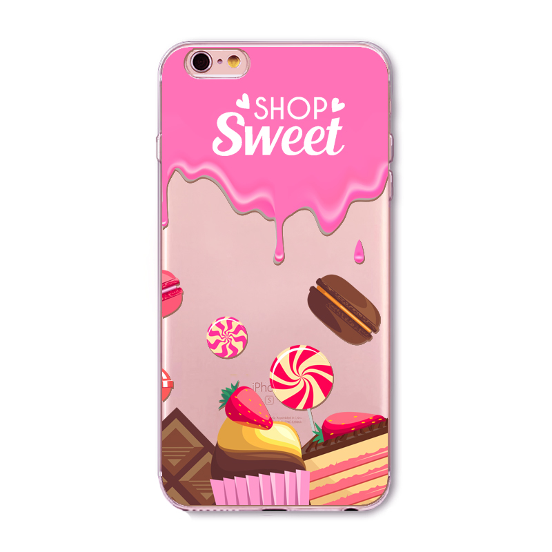 For iPhone 6 6s 5 5S SE 5C 6Plus 6sPlus 4 4S Phone Case Cover Rainbow Color Food Hamburger Donuts Macaron Pattern Fundas Celular