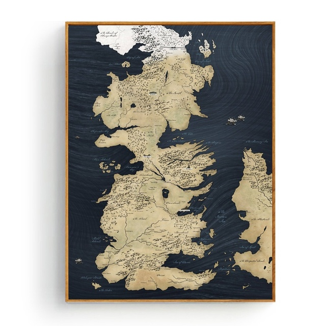 Map Of Westeros Game Of Thrones Silk Fabric Poster And Print Wall