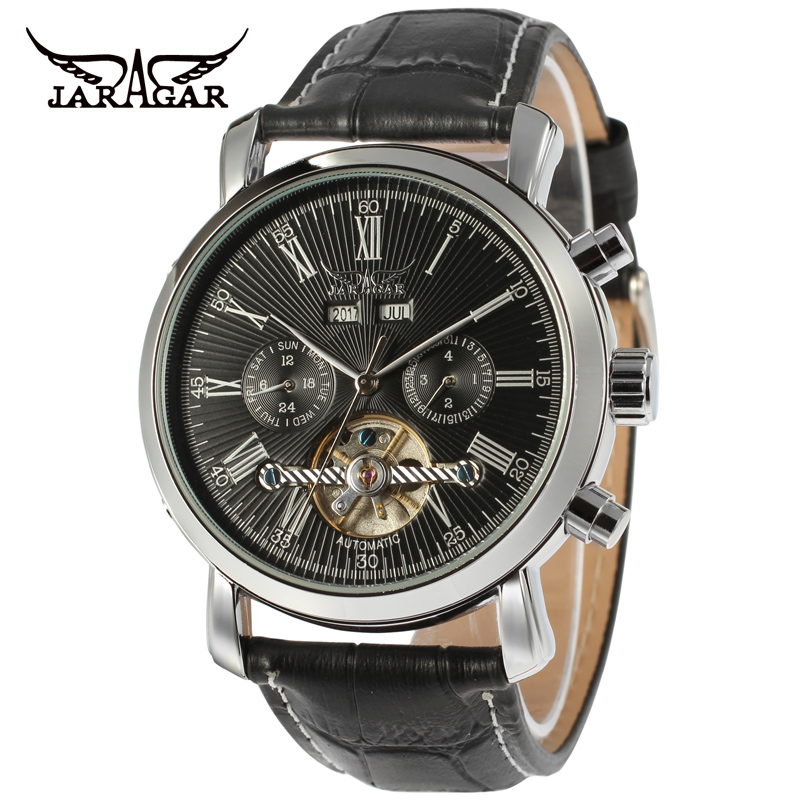 JARAGAR Men Luxury Brand Watch Genuine Leather Band Tourbillion Automatic Mechanical Wristwatches Relogio Releges 2017 New jaragar men luxury watch stainless steel tourbillion automatic mechanical wristwatch relogio releges