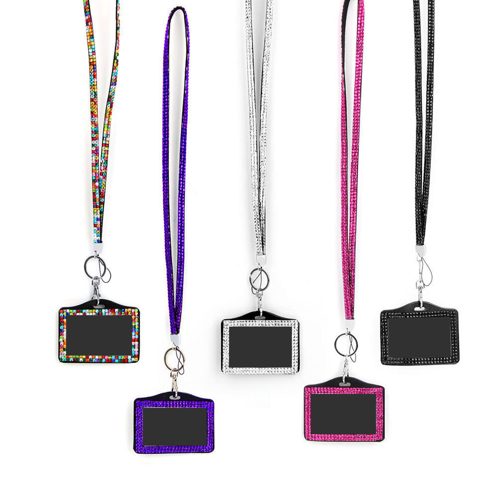 Rhinestone Crystal Lanyard And Id Badge Holder For Photo Credit Cards ID Name Card Badge Holder School Office Supplies