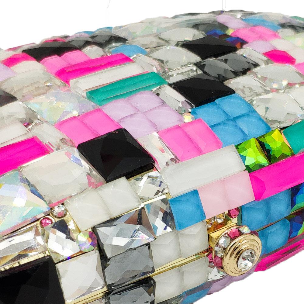 Boutique De FGG Multicolored Women Metal Clutches Minaudiere Bag Crystal Clutch Evening Bags Wedding Purse Ladies Party Hand Bag