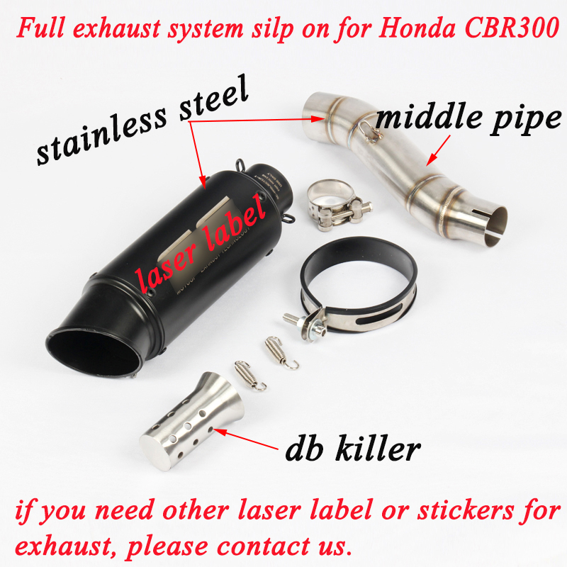 For Honda CBR300 CB300R CB300F Motorcycle Stainless Steel Middle Link Tubes System With Exhaust Muffler Pipe
