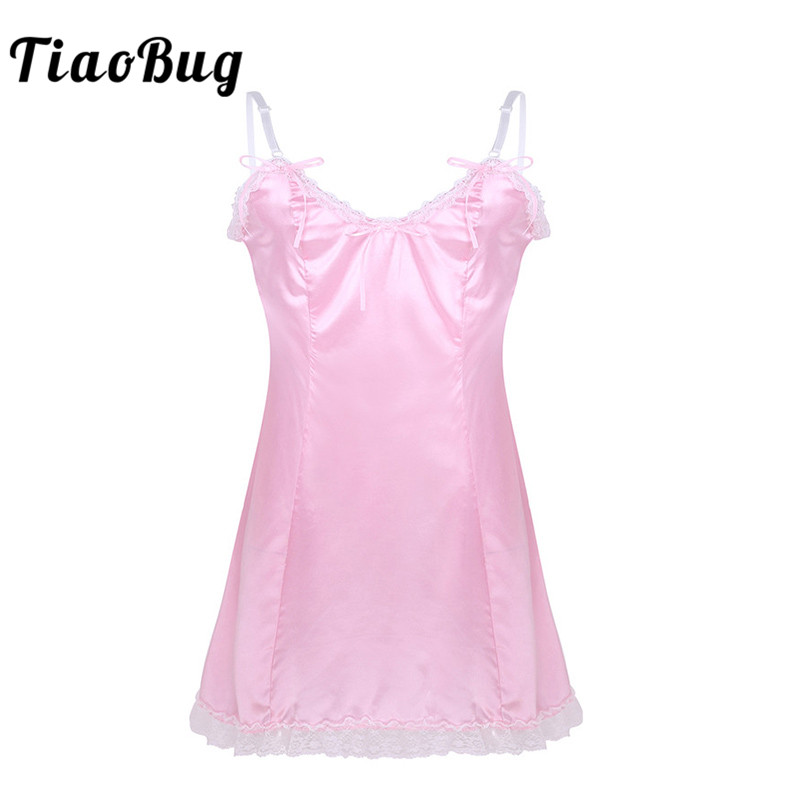 TiaoBug <font><b>Men</b></font> Crossdressing Hot <font><b>Sexy</b></font> <font><b>Lingerie</b></font> Adult Satin Adjustable Spaghetti Straps V-neck Lace Fancy Babydoll Male Sissy Dress image