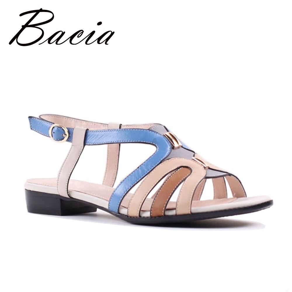 729dd57e64 Bacia Pele de Ovelha Sandálias de Salto Plana Colorido Listras Lazer Menina  Sapatos Verão Mulheres Suaves Sapatos De Couro Genuíno Tamanho 35 41 SA048  em ...
