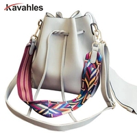 Fashion Colorful Strap Bucket Bag Women High Quality Pu Leather Shoulder Bag Brand Desinger Ladies