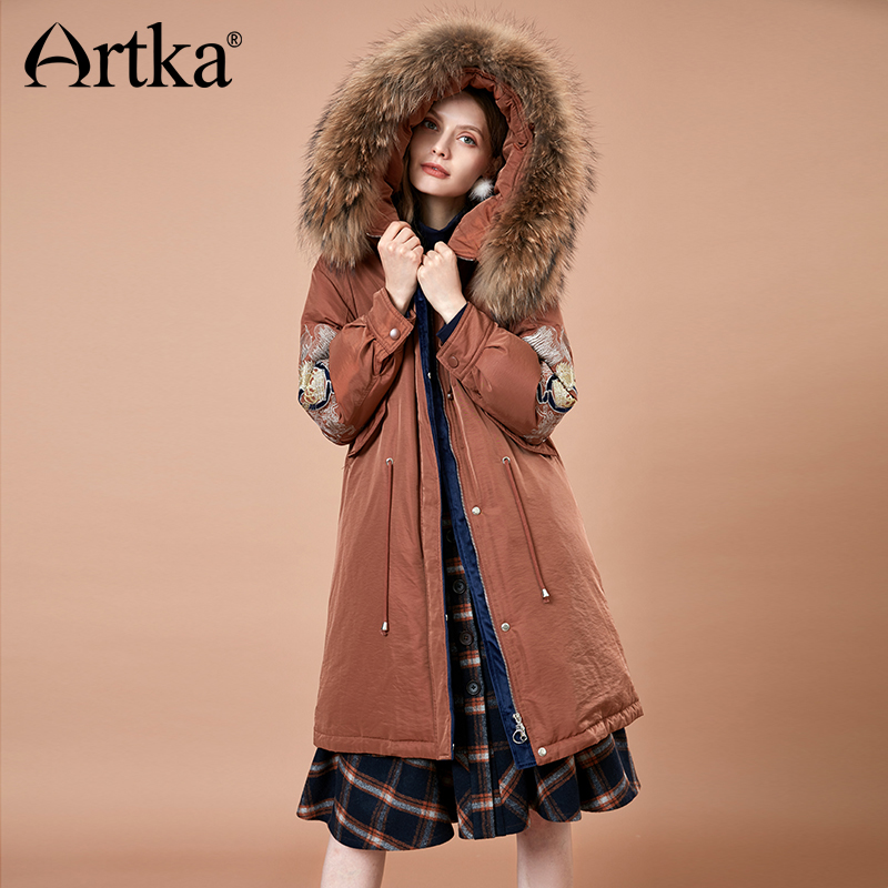 ARTKA Women 2018 Winter Vintage Embroidery Thick 90% White Duck   Down     Coat   Fur Hoodies Female Fashion Warm Jacket   Coat   YK10184D