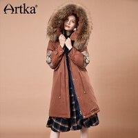 Artka Для женщин 2018 зима Винтаж вышивка толщиной 90% Белое пуховое пальто с капюшоном на меху Женская мода теплый жакет YK10184D