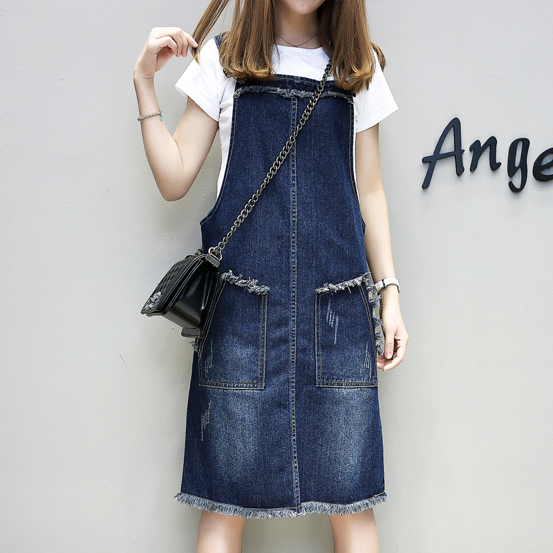 Plus Size 2018 New Spring Summer Women dress Fertilizer Added Fat Long Denim Straps Dresses Blue 1753