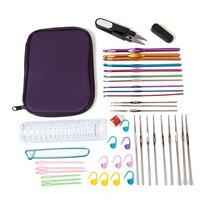 Hot Bán 22 Cái Thiết Lập Đa-màu Nhôm Và Bạc Crochet Hooks Needle Kit Đối Knit Weave Craft Sợi với Bag Craft công c