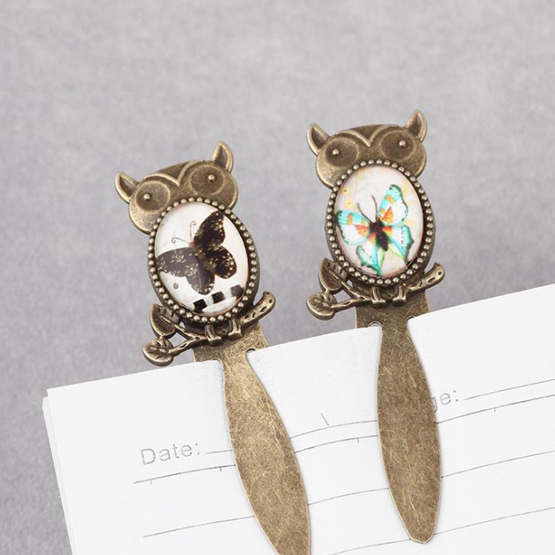1 Pcs Vintage Mini Glass Cabochon Owl Butterfly Metal Bookmarks Book Marker Clip Page Holder Stationery Office School Supplies
