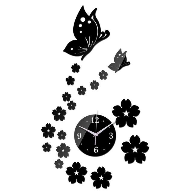promotion 2017 sale quartz led wall clock new butterfly art safe decor diy home decoration fashion the mirror living room