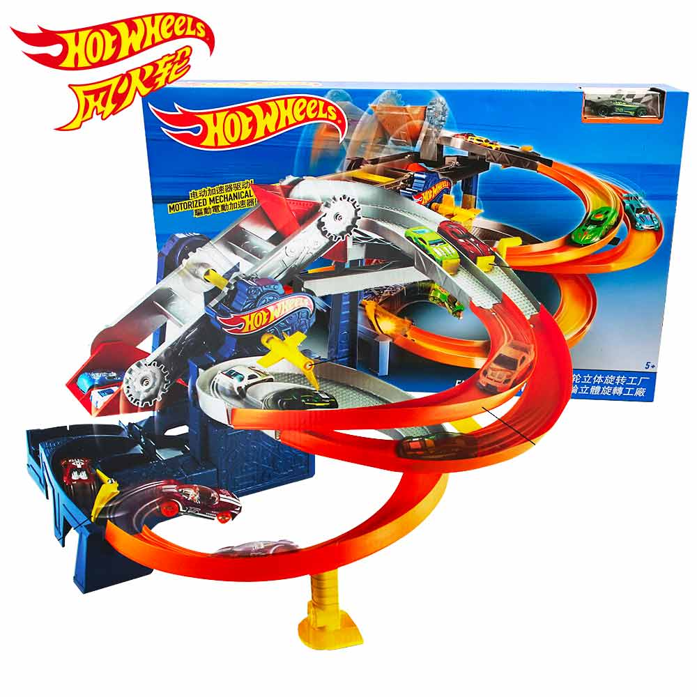 Hot Wheels Roundabout Electric Carros Track Model Cars Train Kids Plastic Metal Toy-cars- Hot Toys For Children Juguetes