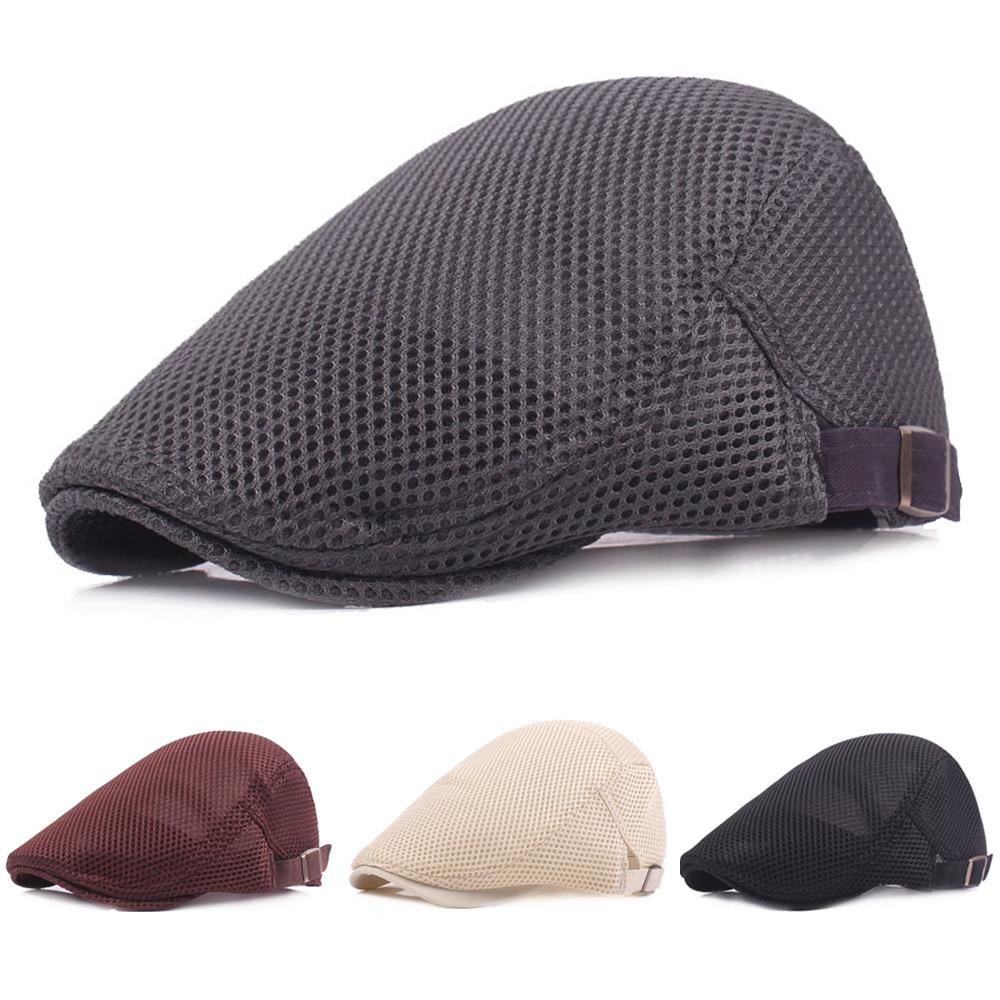 Men Women New Fashion Mesh Summer Driving Golf Newsboy Hat Outdoor Beret Cap