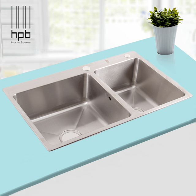 HPB German Kitchen 304 Stainless Steel Double Bowel Thicken Square ...