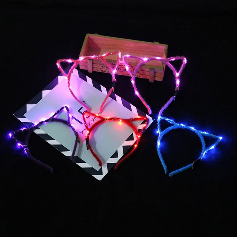 Glowing In Night Cat Ears LED Light Headdress Colorful Flash Garland Headband Children's Toys Night Market Stall Bar Light