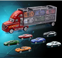 Alloy Car Model Portable Plastic Container Truck 1:43 MINI Metal Cars Toys For Children Birthday Gift