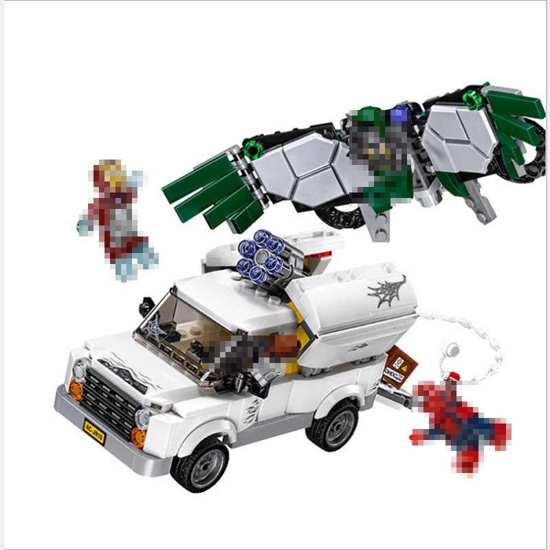 Lepin 07076 Marvel Super Heroes Spiderman The Beware Of Vultures Set Educational Building Blocks Bricks Toys For Children Gifts compatible with lego marvel lepin 38005 328pcs super heroes movie iron man ironman mech building blocks bricks toys for children