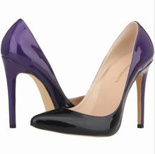2016 Plus Size 34-42 Sexy Pointed Toe Gradient Two-color Shallow Mouth High Heels Vintage Sexy Women shoes