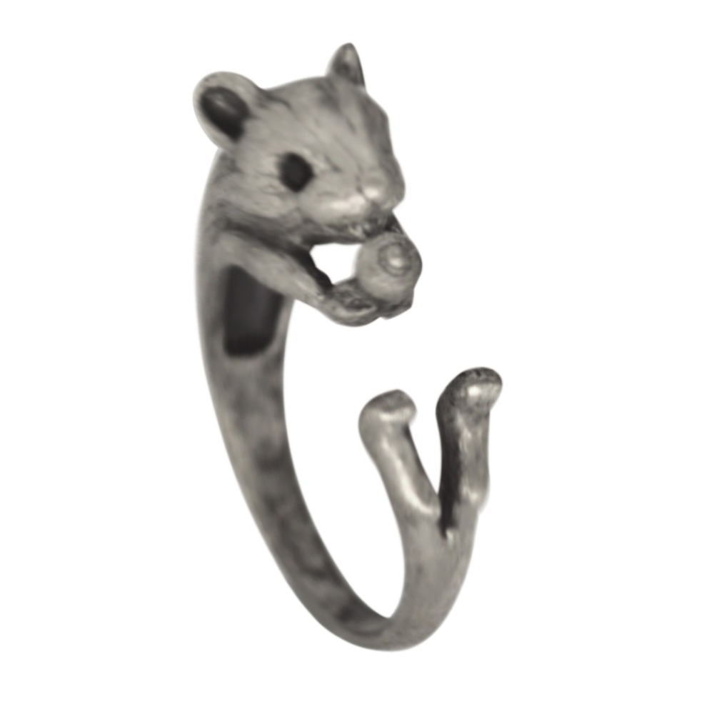 QIAMNI Adjustable Antique Silver Squirrel Animal Rings Gift for Women Girls Statement Jewelry Accessories Christmas Party Gift