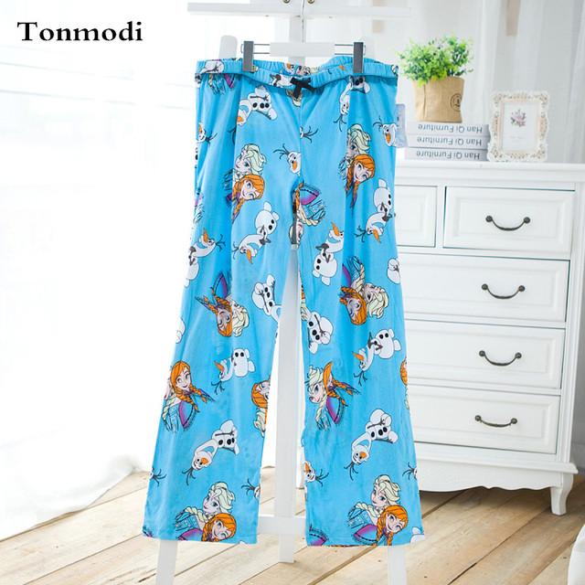 2015 Mujeres del otoño 100% algodón hogar ocasional legging pantalones pantalones femeninos más el tamaño de pijama de dibujos animados