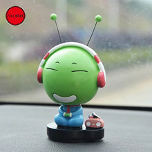 1pc Cute Car Styling Green Caterpillar Bobble Head Doll Ornament Dashboard Decorations Home Office Car Interior Accessories