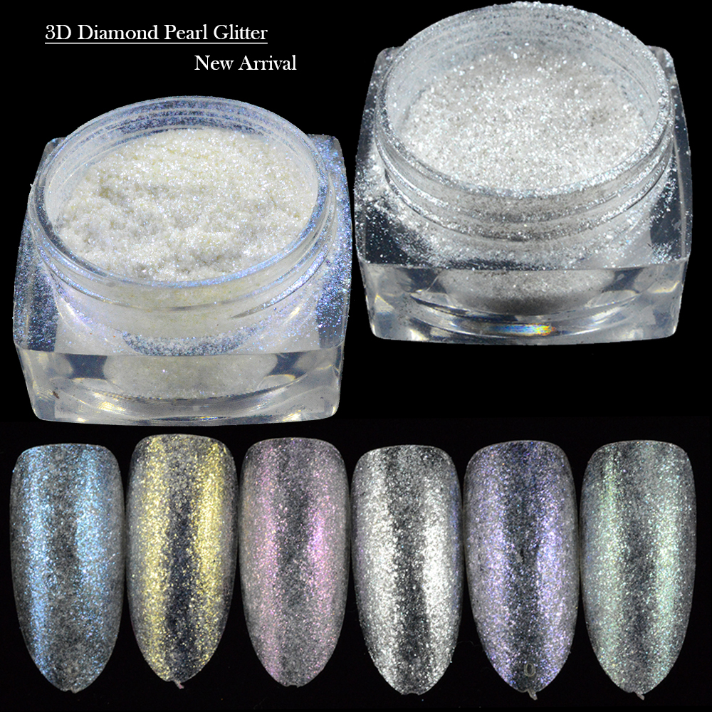 1pcs Micro Sparkle Diamond Pearl Glitter Powder Nail Art Mermaid Effect Holographic Pigment Beauty Salon Tips Trds1 6 In From